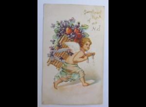 Valentinstag, Engel Korb, Herz, Blumen, 1901, Prägekarte ♥ (43801)