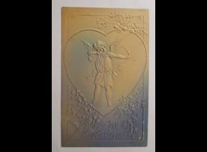 Valentinstag, Engel, Amor, Pfeil, Bogen, 1908, Prägekarte ♥ (36093)