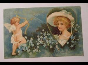 Valentinstag, Frauen, Hutmode, Herz, Engel, Amor 1900, Prägekarte ♥ (4442)
