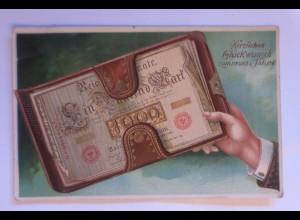 Neujahr, Geldschein, 1913, Golddruck ♥ (71197)