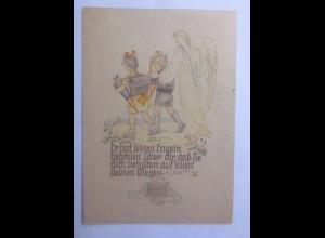 Schutzengel, Kinder, Schultüte, Bibelspruch 1910 ♥