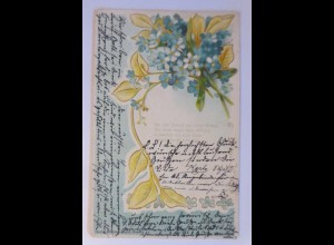 Blumen, Vergissmeinnicht, 1904, Prägekarte ♥