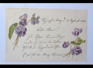 Blumen, Veilchengrüße, 1903, Meissner & Buch ♥