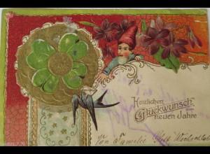 Neujahr, Zwerg, Kleeblatt, Schwalbe, 1902, Prägekarte ♥ (17173)