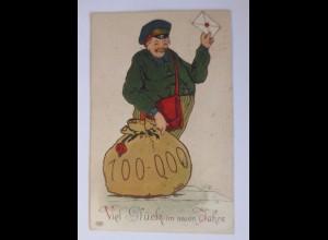 Neujahr, Männer, Münzen, Briefe, Postbote, 1914, Prägekarte ♥ (53370)