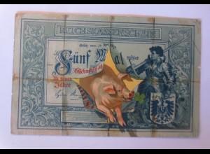 Neujahr, Geldschein, Leinwand, Schwein, Kleeblatt, 1903 ♥ (71276)