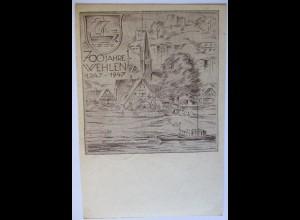 700 Jahre Stadt Wehlen Kreis Pirna 1947, Sonderkarte mit Sonderstempel