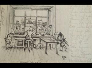 """""""Zwerge, Postschalter"""" 1902, Schalter, Viel Arbeit, sig. H.St.♥ (17603)"""