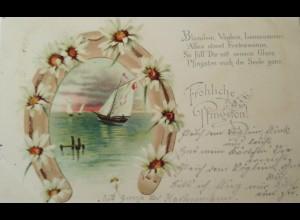 Pfingsten, Blumen, Hufeisen, Boot, 1900 ♥ (19296)