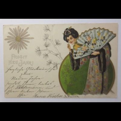 Neujahr, Japanerin, Fächer, 1902, Mailick ♥ (45048)