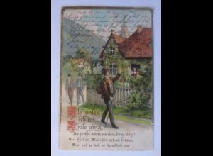 Landschaft, Haus, Als unten ich im Thale ging, 1903, Golddruck ♥