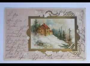 Winterlandschaft, Landhaus, Tannen, Jugendstil, 1902, Prägekarte ♥