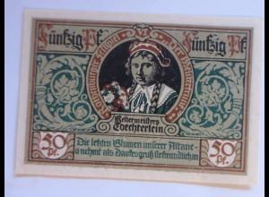 Notgeld der Stadt Rotenburg, 50 Pf, Töchterlein, 24 Juni 1921 ♥