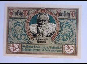Notgeld der Stadt Rotenburg, 50 Pf, Bürgermeister, 24 Juni 1921 ♥ (8439)