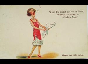 """""""Scherzkarte, Frauen, Singen"""" 1941, Halt gegen das Licht ♥ (8597)"""