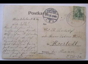Bahnpost Sonderburg Norburg 1906 Hundsleben nach Horstedt Husum (64608)