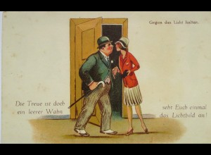 """""""Scherzkarte, Männer, Frauen"""" 1920, Halt gegen das Licht ♥ (15939)"""