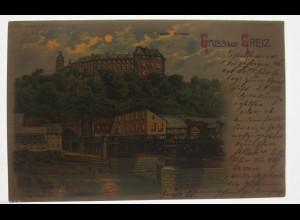 """""""Gruß aus Greiz, Oberes Schloss""""1902, Richard H. ♥ (4611)"""