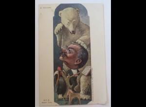 Politik, Karikatur, sign. B. Moloch: Karikatur, Eisbär, Polarbärb (33356)