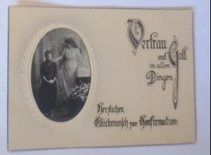 Konfirmation, Engel, Schutzengel, Kinder, 1921, Einlegekarte ♥