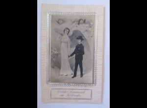Konfirmation, Engel, Schutzengel, Kinder, 1905, Prägekarte ♥