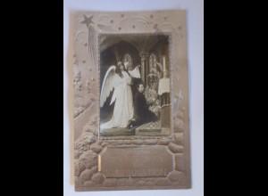 Konfirmation, Engel, Schutzengel, Kinder, 1907, Prägekarte ♥