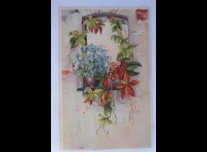 Fenster, Blumen, 1909, Prägekarte ♥