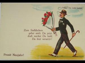 Scherzkarte, Neujahr, Männer, Blumen, 1920, Halt gegen das Licht ♥ (2373)
