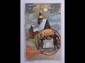 Neujahr, Männer, Feuerzangenbowle, Kirche, Mond, 1907 ♥ (50189)