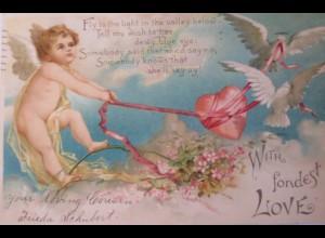 Valentinstag, Engel, Herz, Taube, 1903 ♥ (27284)