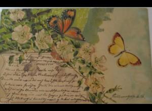 """Schmetterling, Blumen"" 1901, Serie 1127,sig. O.W.H. ♥ (2922)"