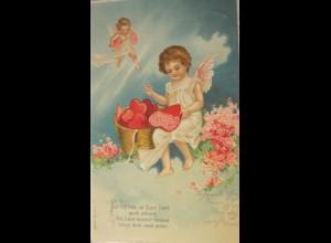 Valentinstag, Engel, Korb, Herzen, 1903, Prägekarte ♥ (25833)