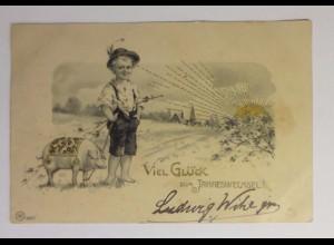 """""""Neujahr, Kinder, Schwein, Sonnenschein"""" 1903 ♥ (42144)"""