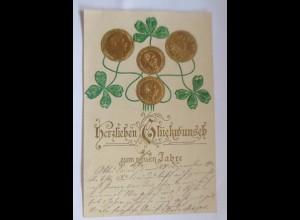 Neujahr, Münzen, Kleeblatt, Jugendstil, 1903, Prägekarte ♥ (53456)