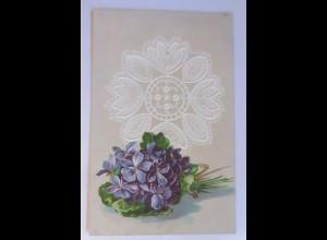 Blumen, Veilchen, 1908, Prägekarte ♥