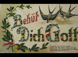 """""""Spruch, Schwalben, Brief"""" 1910, Prägekarte ♥"""