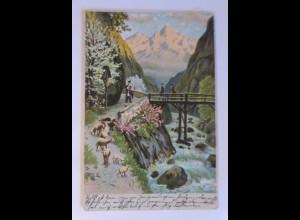 Landschaft, Berge, Hirte, Schafe, 1912, Prägekarte ♥