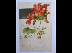 Blumen, Sonne, Sonnenschein, 1905, Prägekarte ♥