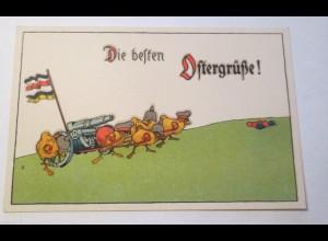 WW1 Ostern, Küken, Soldaten,Kanonen, Fahnen, Ostereier, 1916 ♥ (22235)