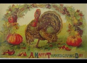 """Thanksgiving, Truthahn, Kürbis"" 1909, Golddruck ♥"