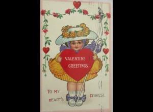Valentinstag, Kinder, Mode, Herz, Hut, Rosengirlande, 1913, Prägekarte ♥ (15066)