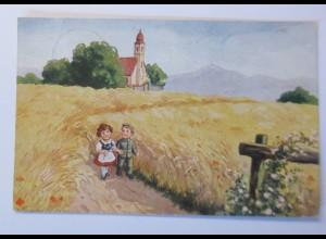 Kinder, Soldat, Spazieren, Landschaft, 1916 ♥ (5339)