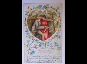 Frauen, Männer, Herz, Liebe, Spruch, 1904, Prägekarte ♥ (29961)