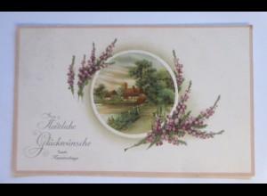 Namenstag, Landschaft, Haus, Blumen, 1913, Prägekarte ♥
