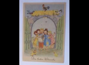Kinder, Bauernhof, Singen, Huhn, Küken, Hahn, 1956, Lilly Schott ♥ (53721)