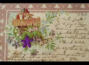 """""""Zwerge, Blumen"""" 1902, Prägekarte ♥"""