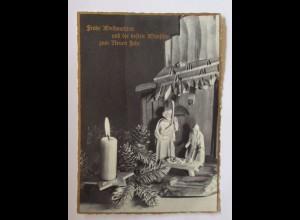 Weihnachten, Krippe, Kerze, Tannenzweig, 1959 ♥ (50738)