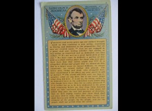 USA, Präsident Lincoln, Sonderkarte ca. 1920 (37469)