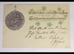 Neujahr, Münzen, Drachen, Ritter, Kleeblatt, 1910, Silberdruck ♥ (42597)