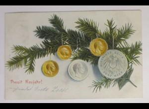 Neujahr, Tannenzweig, Münzen, 1906 ♥ (42596)